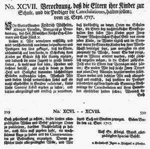 1717_Verordnung_zur_Einführung_der_Allgemeinen_Schulpflicht_in_Preußen