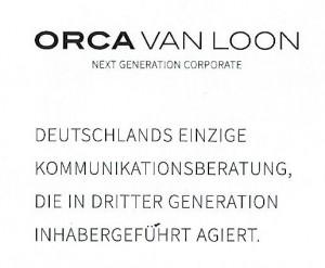 Inhabergeführt in 3. Generation Werbekarte Orca van Loon