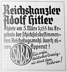 SABA_Werbung Hitler Werbung Radio 1933