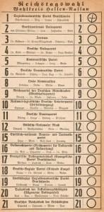 Wahlzettel_Weimarer_Republik RT-Wahl 1928 Wikim. Comm. gemeinfrei